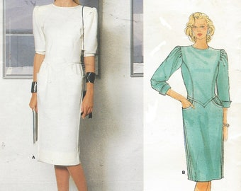 80s Emanuel Ungaro Womens Dress Straight with Jewel Neckline Vogue Sewing Pattern 1383 Size 12 Bust 34 FF Vintage Vogue American Designer