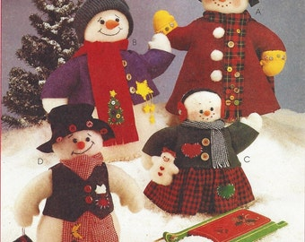 "90s Joanne Beretta Snow Family Pattern 20"" and 13"" Snow People and Toy Doll McCalls Crafts Sewing Pattern 8387 UnCut Christmas Decor"