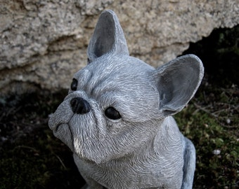 French Bulldog Statue, Frenchie Bulldog Statues, Concrete Dog Statue, Garden Decor, Dog Figure, Cement Dog Statue, Painted Concrete Dog