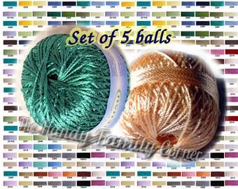 Set of 5 skeins Viscose Yarn Silk Summer Koprina. Rayon yarn. Crochet thread. Beadwork thread. Colour of your choice. Wholesale. DSH