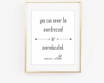 You can never be overdressed or overeducated, Oscar Wilde Quote, Oscar Wilde Print, Literary Print, Literary Gift, Minimalist Decor, Quote