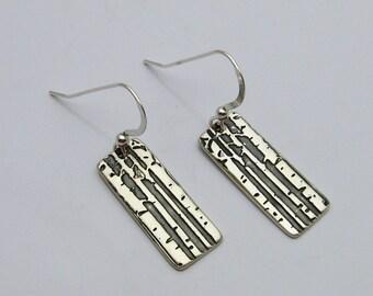 Silver Aspen Tree Earrings, Tree Earrings, Aspen Tree Earrings, Silver and Black Earrings, Long Earrings, Dangle Earrings, Nature Inspired