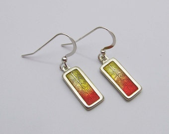 Silver Leaf Earrings , Bright Autumn Colors, Red Orange Yellow, Handmade Silver Jewelry, Resin Jewelry, Fall Colors, Earrings and Necklace