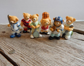 Small set of sports playing bear figurines for crafts, decor