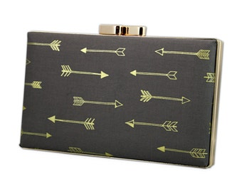 Charcoal grey  box clutch with gold arrows
