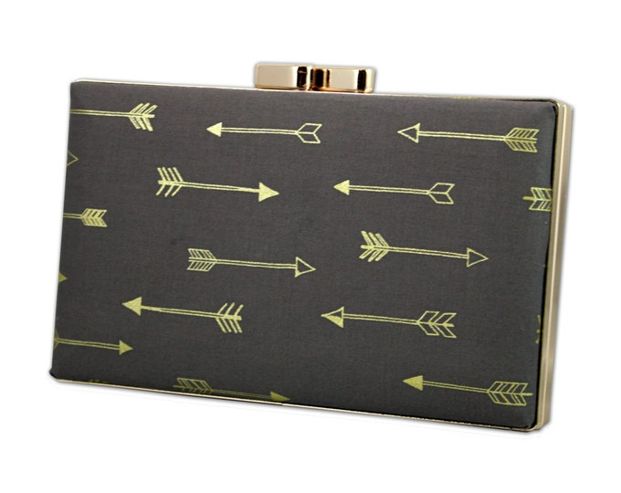 Featured listing image: Charcoal grey  box clutch with gold arrows