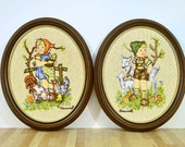 Vintage Hummel Pictures Framed Oval Crewel Work Embroidery Stitchery Needlework