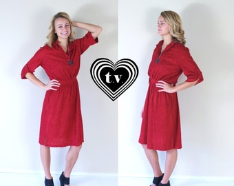 vtg 70s RASPBERRY fold up sleeves DOLLY DRESS retro Medium terrycloth simple indie hipster boho