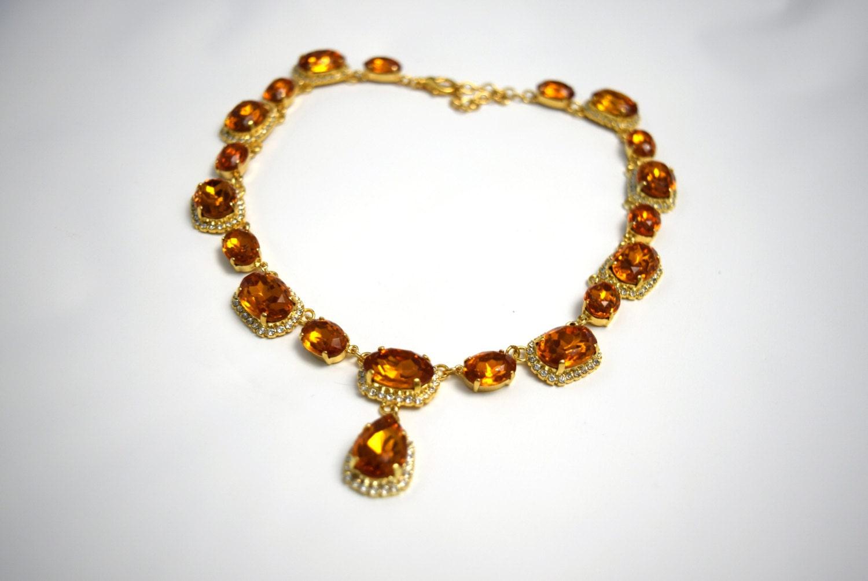 orange topaz necklace georgian necklace 19th century collet