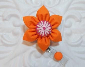 Retractable Badge Holder - Id Badge Reel - Badge Holder - Teacher Lanyard - Orange