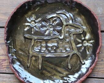Handmade primitive bighorn sheep ceramic terracotta stoneware pottery platter