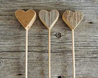 25 Wood Heart Cupcake Pick, Rustic Chic Wedding,  Rustic Heart Cake Topper, Country Wedding, cupcake picks, Heart Cake Topper