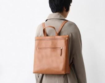 leather backpack, backpack purse, hipster backpack, brown zipperd backpack, minimal brown backpack