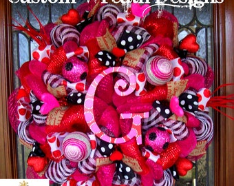 Whimsical Monogram Valentines Wreath