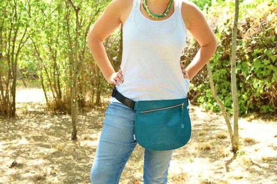 Waist bag,Belt bag,leather hip bag,fanny pack leather,aquamarine purse,hip belt bag,rider bag,red leather fanny,zipper waist