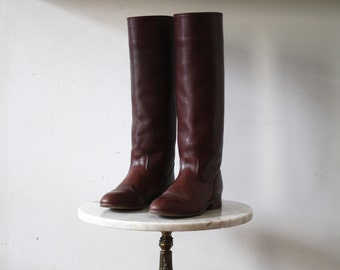 FRYE Boots Brown - 6.5 7 Women's - Leather Tall Red - 1980s Vintage