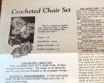 "Crocheted Butterfly Chair Back Doilies, Thread Lace Butterflies Doily, 12"" X 16"" 6"" X 9"" Vintage 1930s Mail Order Crochet Craft Pattern 7170"