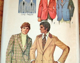 Simplicity 5217 Mens Proportioned Suit Jacket, Regular and Long Lengths, Vintage 1970s Sewing Pattern Chest 42 Waist 36 Uncut Factory Folds