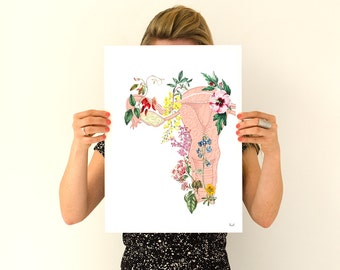 Flowery uterus collage -Woman gift - Feminist art- Wall decor art, Anatomical , Pregnancy gift, SKA111WA3