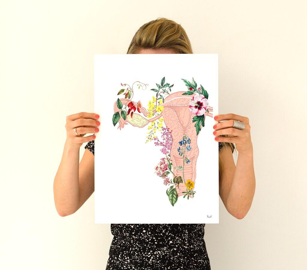 Flowery Uterus Collage Woman Gift Feminist Art Wall