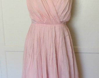 Vintage 60s Bubblegum Pink Dress with Ruching Detail Spring Dress Sleeveless Womens Size Small
