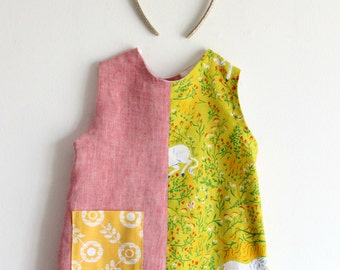 Linen and popeline girls' sundress, summer dress. Size 12-18 months. Fresh, cotton and softened linen. Made in Italy. Ready to ship.