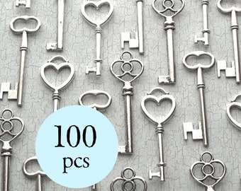 100 pcs - The Sabine  Collection - Vintage Wedding Favors - Skeleton Key Assortment in Silver - Set of 100 Keys - Three Styles
