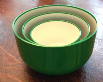 KARTELL Green Plastic Bowl Set 1970s Anna Castelli Italy