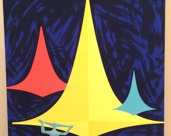 Varig Airlines Original 1950s Mid Century Poster Silk Screen Brasilia Aviation