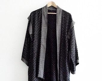 Boho Kimono Duster. Black Grey polka dot Free US Shipping