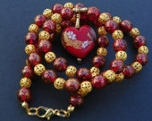 Heart Necklace Valentine Necklace Valentine Pendant red necklace heart pendant red pendant gold necklace flower necklace valentine heart