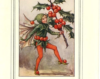 The HOLLY FAIRY Vintage Book Plate Original Page c. 1940 Book of the Flower Fairies Cicely M Barker