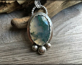 Moss Agate Sterling Silver Rustic Necklace