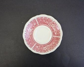 Vintage 1930s Syracuse China Cranberry Floral Transferware Saucer (E202)