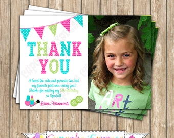 Girls Spa Photo Thank You card  Birthday Party PRINTABLE #1 pedi manicure facials  pink teal lime green DIY personalized