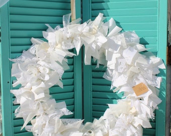 White Rustic Rag Wreath / Ribbon Wreath / Fabric Wreath, vintage lace, shabby chic wreath,  white wreath, vintage lace, eJ9