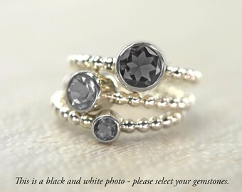 Birthstone Stack Gemstone Silver Gold Rings, Personalize Your Set - Carmine Rings