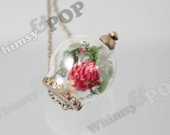 1 - Antique Bronze Glass Dome REAL Dried Flower Pendant, Flower Terrarium, Terrarium Charm, Terrarium Pendant, 30mm x 20mm (R6-063)
