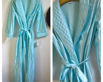Fabulous Never Worn Silky Bombshell PinUp Style Robe In A Light Pastel Teal Color ~ Ladies Size Medium ~ Tags Attached ~ 1980's ~ By Kingly