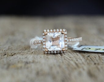 Certified 2.26 carat champagne peach sapphire, Diamond ring 14k  gold ring, Fine jewelry Engagement ring P705