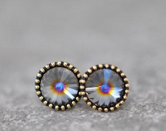Gray Rainbow Earrings Organic Edge Studs RARE Vintage Saturn Rainbow Center Ball Swarovski Crystal Rainbow Stud Earrings Mashugana