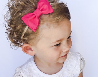 Hot Pink Bow Headband - Pink Baby Bow Headband - Solid Pink Fabric Bow Headband or Clip - Hot Pink Bow - Dark Pink Bow with Diagonal Tails