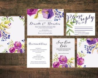 Purple Flower Wedding Invitation Set (Set of 25) | Floral Wedding Invitation, Invitation Suite, Spring Wedding