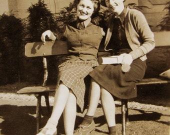 college girls - 1930s vintage photo of best friends on a bench  vintage school theme - scrapbooking supplies