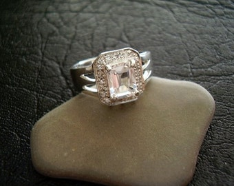 Genuine Morganite Beryl & Diamond Octagon Halo Ring, Natural Morganite, 925 Sterling Silver, Alternative Engagement, Unique Wedding Ring