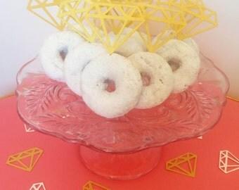 12 GOLD donut diamond jewel engagement cupcake topper food pick for bachelorette bridal shower or engagement party decor decoration