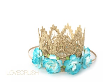 Ready to Ship    Sienna gold lace crown headband   turquoise flowers    photography prop