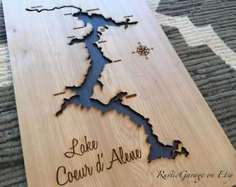 Lake Coeur D'Alene 3-D Lake Sign - CDA Idaho Handmade Custom with Cities, Compass and Lake Name Engraved - North Idaho Made