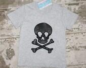 Boys Skull Shirt, rock band, rocker, leather SKULL, organic cotton. Steampunk. toddler ROCKER