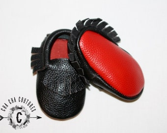 SALE WOW! RED Bottoms 100% genuine leather baby moccasins Mocs moccs top quality, first birthday,
